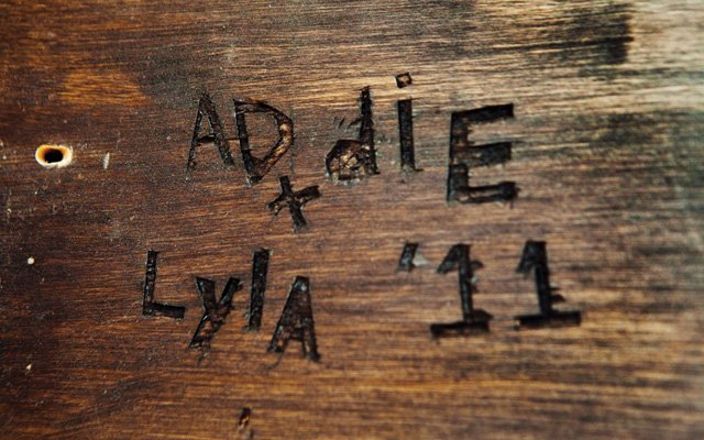 Glen carved the girls' names into a beam in the living ...