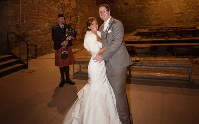 Bride and Groom and Bagpiper