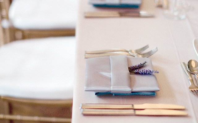snippets of lavender were tucked into the napkin