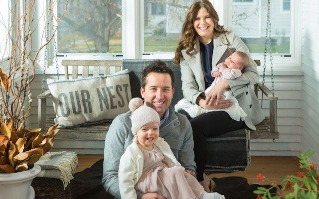 Amanda and Jay Kautt family on porch