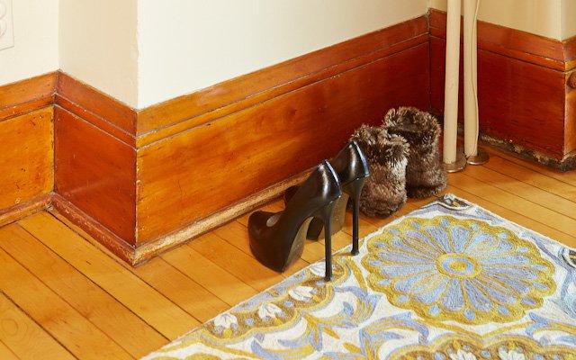 Amanda and Jay Kautt shoes near the door