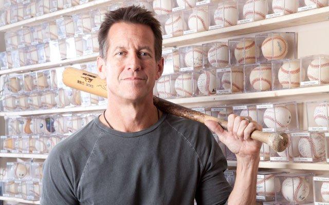 James Denton with baseball collection