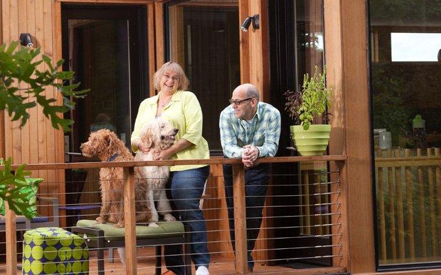 Lisa Goodman and Ben Horn on rooftop deck