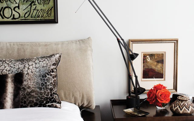 bedroom, bed with night stand