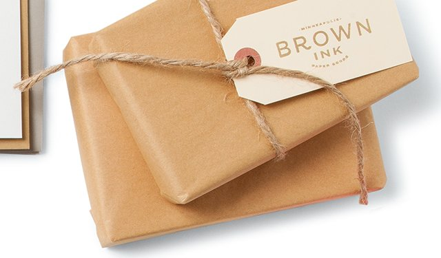 package wrapped in brown paper and string