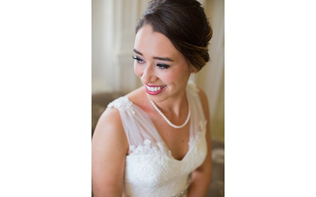 Bride smiling looking to side