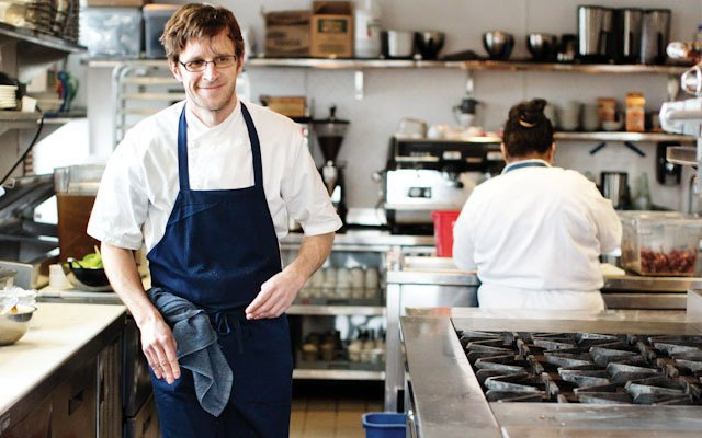 Paul Berglund working in the kitchen at Bachelor Farmer.