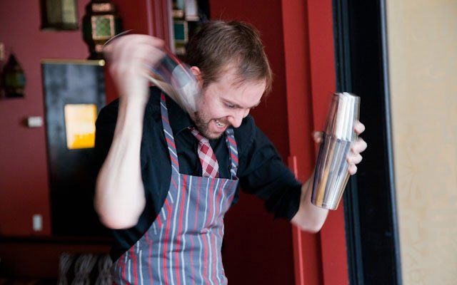 Rob Jones mixing drinks at Saffron.
