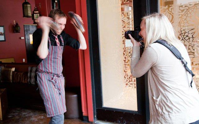 Eliesa Johnson photographing Rob Jones of Saffron.