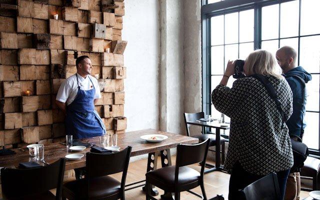Eliesa Johnson photographing Joe Rolle at Borough.