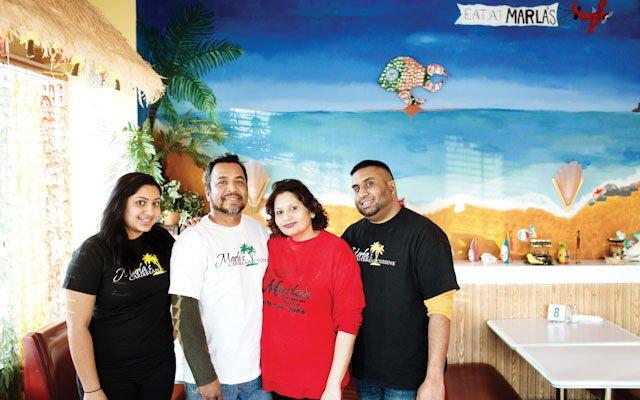 Marla Jadoonanan and family at Marla's Caribbean Cuisine