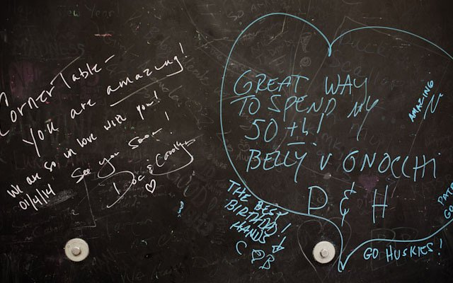 Chalkboard wall at Corner Table