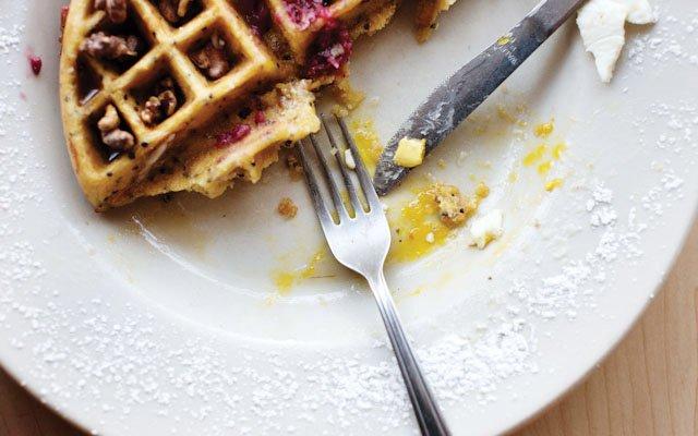 Waffles at Birchwood Cafe.
