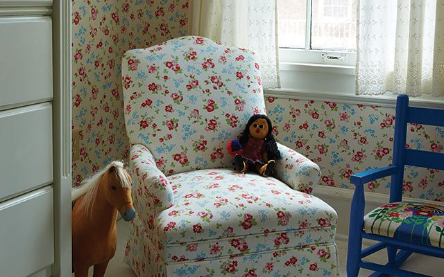 Cath Kidston wallpaper and upholstery in kids bedroom