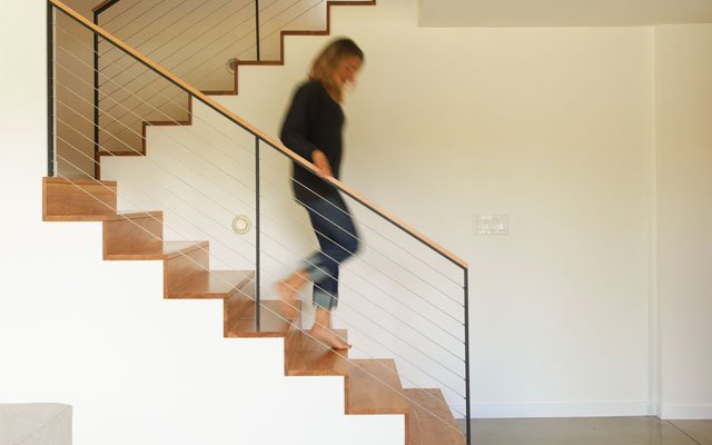 A stairwell in the Haar family home in Chanhassen, on L...