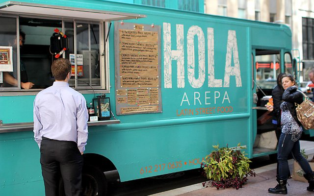 Hola Arepa food truck in downtown minneapolis