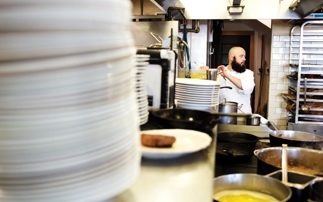 Inside the kitchen of Alma restaurant