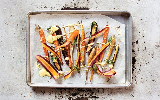 A tray of carrots at Saffron restaurant