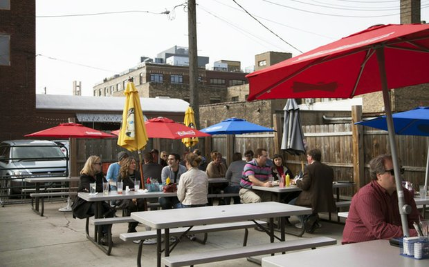 The patio at Cuzzy's in North Loop, Minneapolis