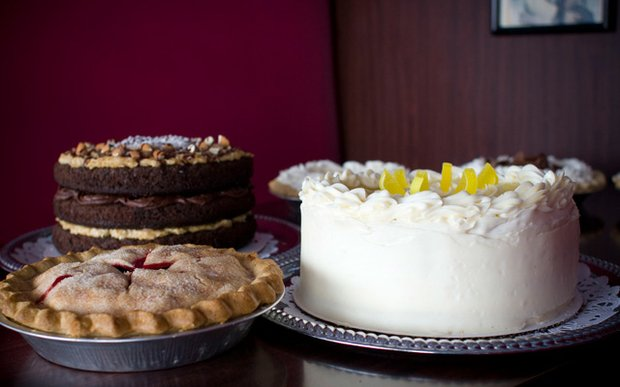 Cakes and a pie at 50's Grill in Brooklyn Center, Minnesota
