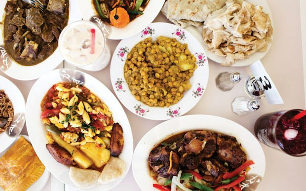 A table of food at Marla's Caribbean Cuisine