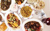 A table of food at Marla's Caribbean Cuisine