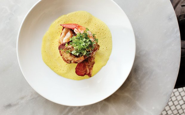 Maine lobster with celery root gratin and saffron vanilla emulsion at Meritage