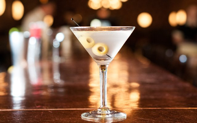 A martini on the bar at The Monte Carlo
