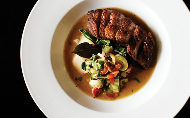 Wild Acres duck with pickled chilis, leeks, ginger, and turnips in miso broth at The Strip Club