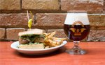 Meatball sandwich, fries, and a beer at Devil's Advocate in downtown Minneapolis