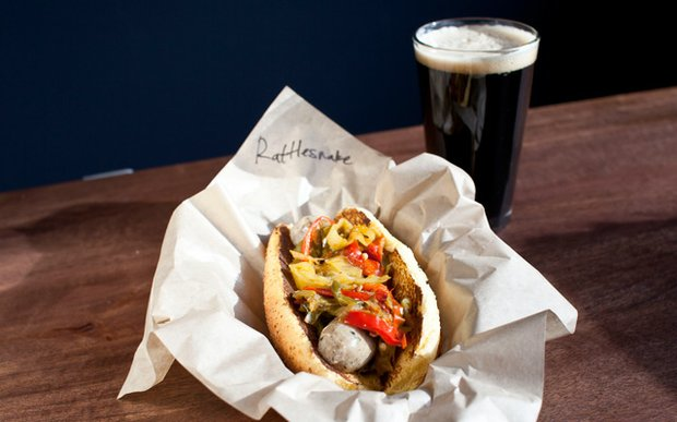 Bratwurst and beer at New Bohemia in Northeast Minneapolis