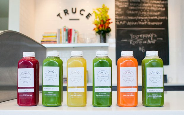 Organic juices on the counter at Truce in Uptown, Minneapolis