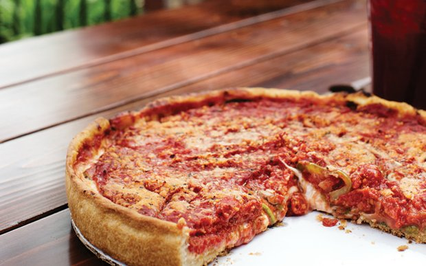 Deep dish pizza from Pizzeria Pezzo in White Bear Lake