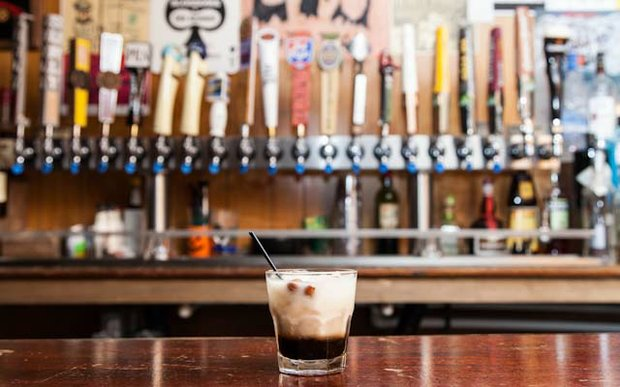 White Russian on the bar at the Clown Lounge in St. Paul