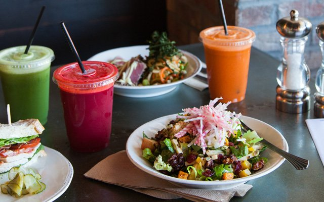 Salads and juices at Agra Culture Kitchen & Press | Photo by Caitlin Abrams