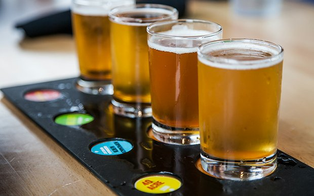 A beer flight at Canal Park Brewery Duluth