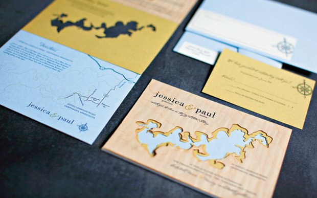 Invitations designed by A Milestone Paper Co.
