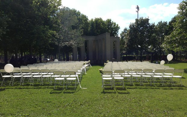 A wedding ceremony set up at the Minneapolis Sculpture Garden