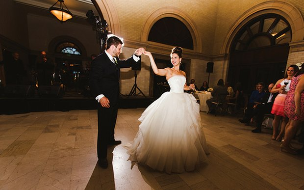 A bride and groom sharing their first dance at The Depot in Minneapolis