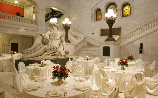 A Wedding Reception Setup Inside The Minneapolis City Hall