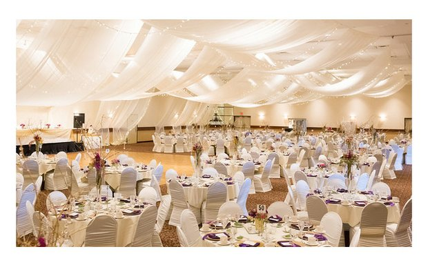 A wedding reception setup at Prom Center in Oakdale, MN