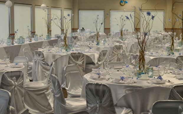 A reception setup at Roseville Skating Center