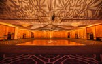 A banquet hall set up for a wedding reception at the DoubleTree in Bloomington