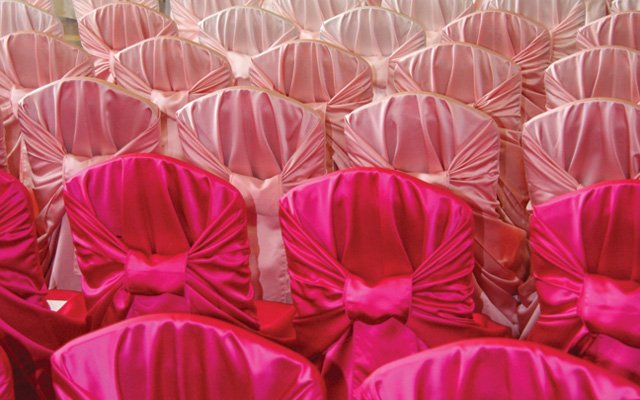 Pink ombre chair covers by Linen Effects