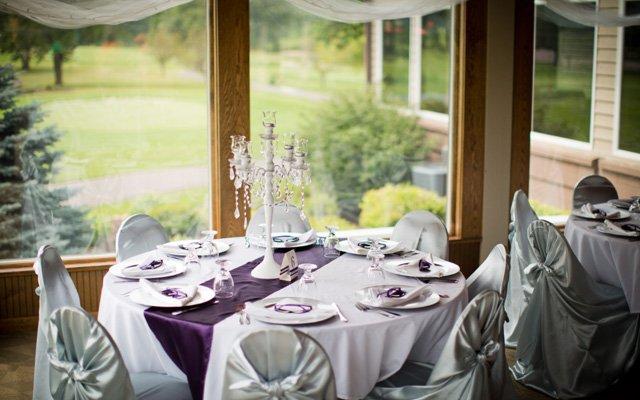 A reception setup at River Falls Golf Club