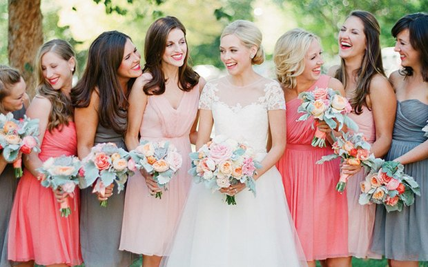 Mismatched J.Crew bridesmaids dresses