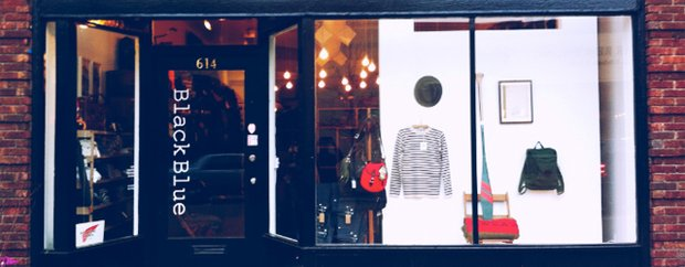 Exterior of BlackBlue menswear shop on Selby Avenue in St. Paul
