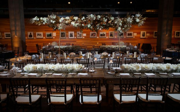 A wedding reception setup at the Mill City Museum in Minneapolis, MN