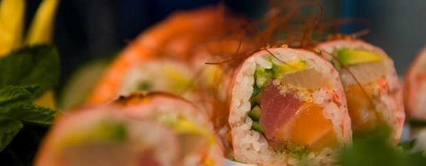 Aji Japanese close up shot of sushi rolls