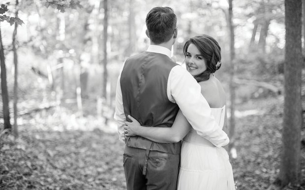 Stephani and Eric Johnson on their wedding day in Faribault, Minnesota   Photo by V Square Media